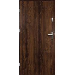 Drzwi Zewnętrzne Stalowe Ciemny Orzech Artemida 55 mm z Klamką i Wkładkami