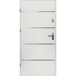 Drzwi Zewnętrzne Stalowe Białe Atena 55 mm z Klamką i Wkładkami