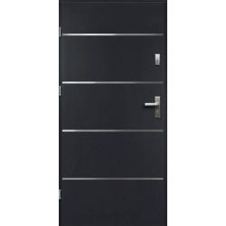 Drzwi Zewnętrzne Stalowe Antracyt Atena 55 mm z Klamką i Wkładkami