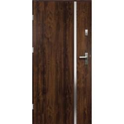 Drzwi Zewnętrzne Stalowe Ciemny Orzech Hebe 55 mm z Klamką i Wkładkami