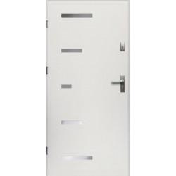 Drzwi Zewnętrzne Stalowe Białe Sparta 55 mm z Klamką i Wkładkami