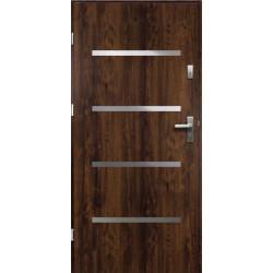 Drzwi Zewnętrzne Stalowe Ciemny Orzech Westa 55 mm z Klamką i Wkładkami