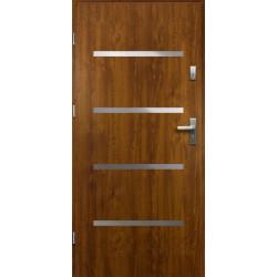 Drzwi Zewnętrzne Stalowe Złoty Dąb Westa 55 mm z Klamką i Wkładkami