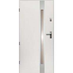 Drzwi Zewnętrzne Stalowe Białe Temida Slim 55 mm z Klamką i Wkładkami