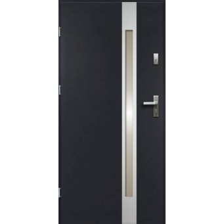 Drzwi Zewnętrzne Stalowe Antracyt Temida Slim 55 mm z Klamką i Wkładkami