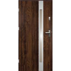 Drzwi Zewnętrzne Stalowe Ciemny Orzech Temida Slim 55 mm z Klamką i Wkładkami