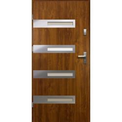 Drzwi Zewnętrzne Stalowe Złoty Dąb Rea 55 mm z Klamką i Wkładkami