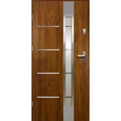 Drzwi Zewnętrzne Stalowe Złoty Dąb Luna 55 mm z Klamką i Wkładkami