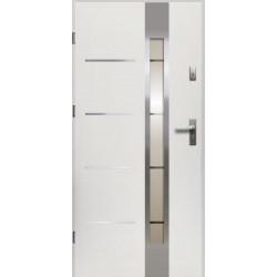 Drzwi Zewnętrzne Stalowe Białe Luna 55 mm z Klamką i Wkładkami