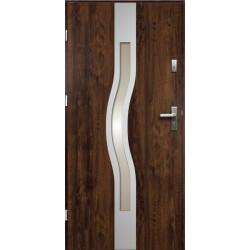 Drzwi Zewnętrzne Stalowe Ciemny Orzech Olimpia 55 mm z Klamką i Wkładkami