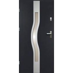 Drzwi Zewnętrzne Stalowe Antracyt Olimpia 55 mm z Klamką i Wkładkami