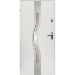 Drzwi Zewnętrzne Stalowe Białe Olimpia 55 mm z Klamką i Wkładkami
