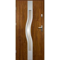 Drzwi Zewnętrzne Stalowe Złoty Dąb Olimpia 55 mm z Klamką i Wkładkami
