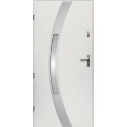 Drzwi Zewnętrzne Stalowe Białe Idalia 55 mm z Klamką i Wkładkami