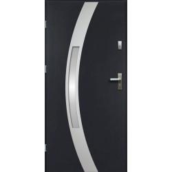 Drzwi Zewnętrzne Stalowe Antracyt Idalia 55 mm z Klamką i Wkładkami