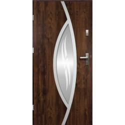 Drzwi Zewnętrzne Stalowe Ciemny Orzech Gaja 55 mm z Klamką i Wkładkami
