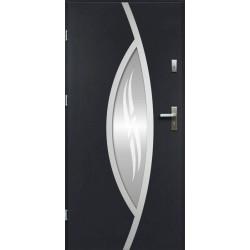 Drzwi Zewnętrzne Stalowe Antracyt Gaja 55 mm z Klamką i Wkładkami