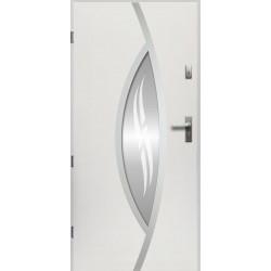 Drzwi Zewnętrzne Stalowe Białe Gaja 55 mm z Klamką i Wkładkami