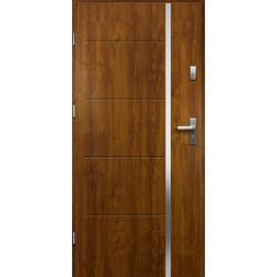 Drzwi Zewnętrzne Stalowe Złoty Dąb Iris 55 mm z Klamką i Wkładkami