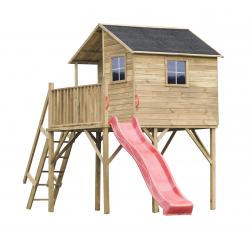 Drewniany domek ogrodowy dla dzieci - Jerzyk ze slizgiem