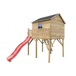 Drewniany domek ogrodowy dla dzieci - Jerzyk MAX ze ślizgiem i podwójną huśtawką