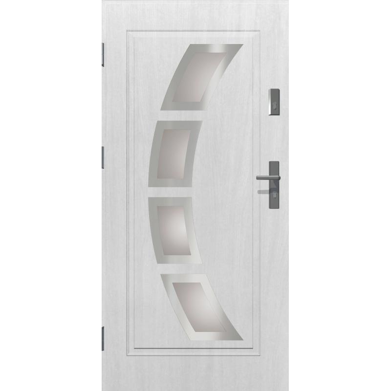 Drzwi zewnętrzne przeszklone HERMES - Białe INOX. Produkt POLSKI.