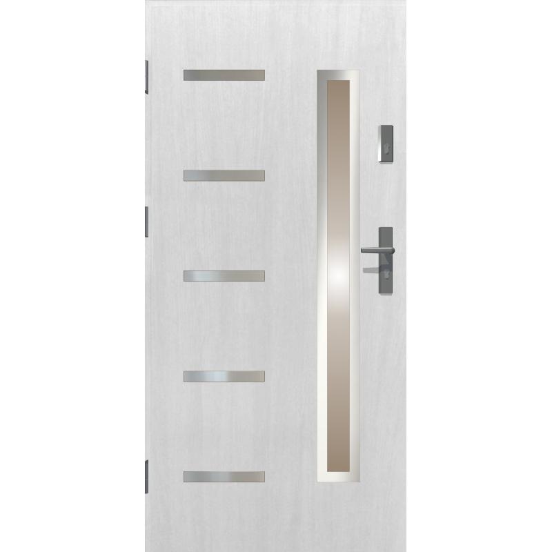 Drzwi zewnętrzne przeszklone JUVENTUS - Białe INOX. Produkt POLSKI.