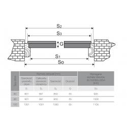 Drzwi zewnętrzne STARS - Antracyt. Wymiarowanie szerokości, przekrój.