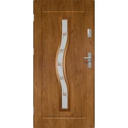 Drzwi zewnętrzne przeszklone CERES - Winchester. Szklenie Witraż. Ramka PVC. Produkt polski.