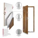 Drzwi zewnętrzne KYPROS- Antracyt. Budowa drzwi, przekrój.