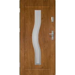 Drzwi zewnetrzne przeszklone CERES - Winchester INOX. Szklenie Lakomat. Produkt polski.