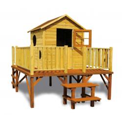 Drewniany domek ogrodowy dla dzieci - Maciej ze ślizgiem