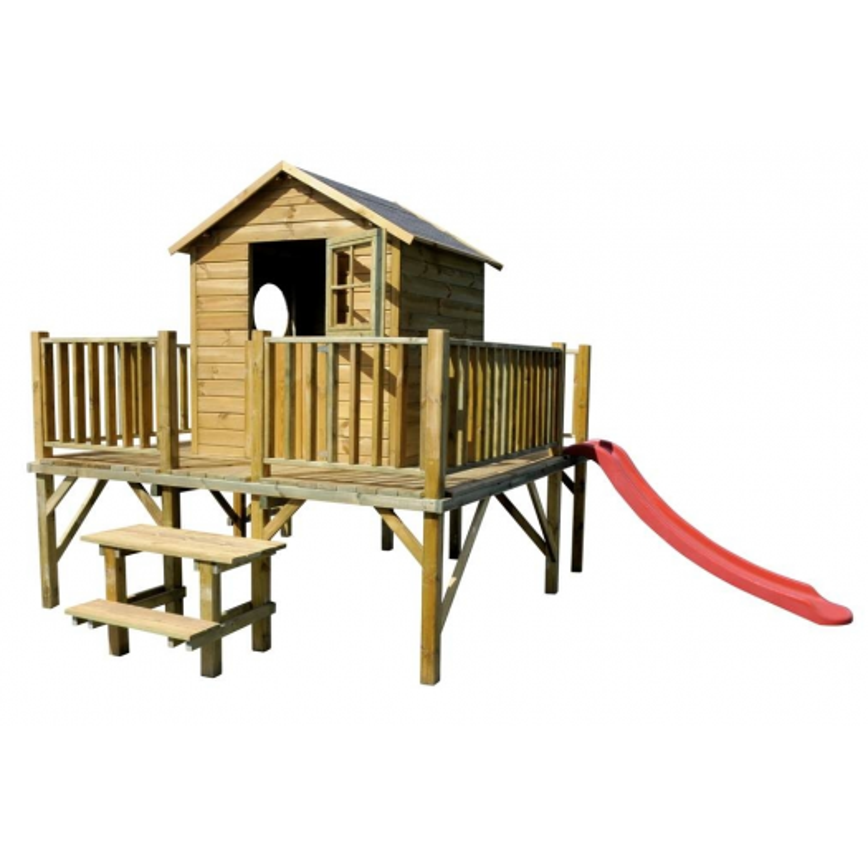Drewniany domek ogrodowy dla dzieci - Maciej ze slizgiem