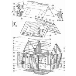 Drewniany domek ogrodowy dla dzieci - Maria z antresolą - Budowa domku