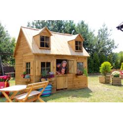 Piętrowy drewniany domek ogrodowy dla dzieci - Maria