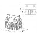 Drewniany domek ogrodowy dla dzieci - Maria z antresolą - Wymiary domku