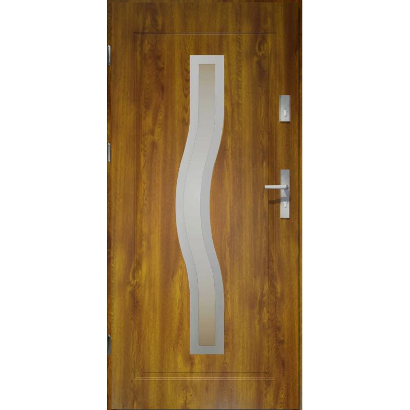 Drzwi zewnętrzne przeszklone CERES - Złoty Dąb INOX. Produkt POLSKI.