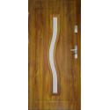 Drzwi zewnętrzne przeszklone CERES- Złoty Dąb Szklenie Lakomat. Ramka PVC - Produkt polski.