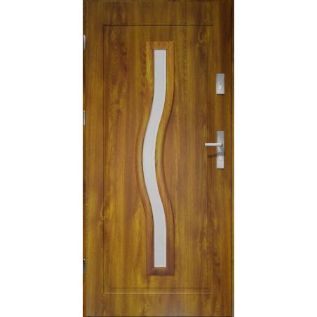 Drzwi zewnętrzne przeszklone CERES - Złoty Dąb. PVC. Produkt POLSKI.