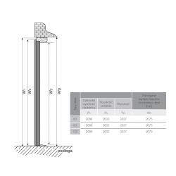 Drzwi zewnętrzne przeszklone CERES-Produkt polski. Wymiarowanie wysokości, przekrój.