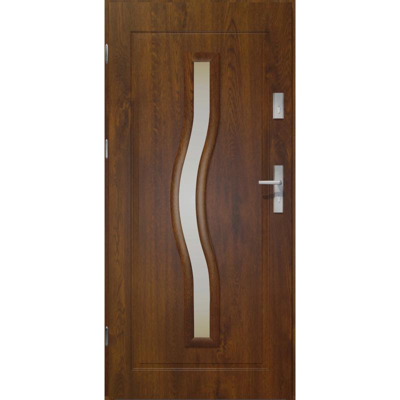 Drzwi zewnętrzne przeszklone CERES - Ciemny Orzech. PVC Produkt POLSKI.