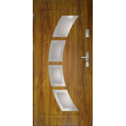 Drzwi zewnętrzne przeszklone HERMES - Złoty Dąb INOX. Produkt POLSKI.