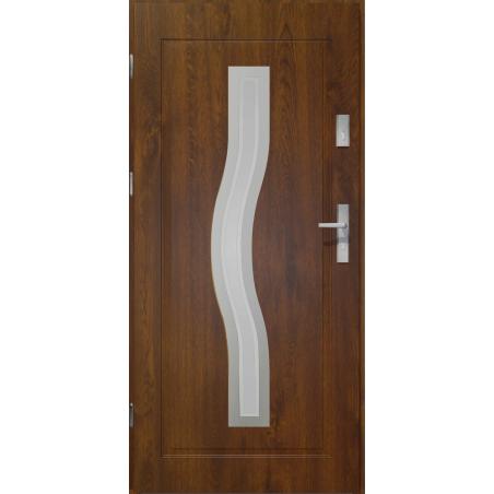 Drzwi zewnętrzne przeszklone CERES - Ciemny Orzech INOX. Produkt POLSKI.