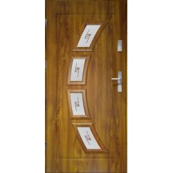 Drzwi zewnętrzne przeszklone HERMES- Złoty Dąb Szklenie Witraż. Ramka PVC - Produkt polski.