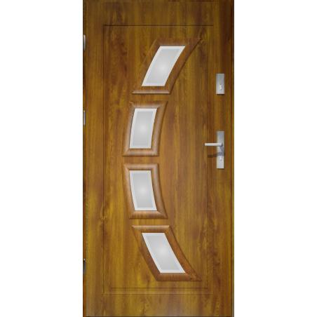 Drzwi zewnętrzne przeszklone HERMES - Złoty Dąb. PVC. Produkt POLSKI.