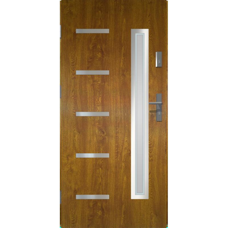W Mega Drzwi zewnętrzne przeszklone JUVENTUS - Złoty Dąb INOX. Produkt RN07