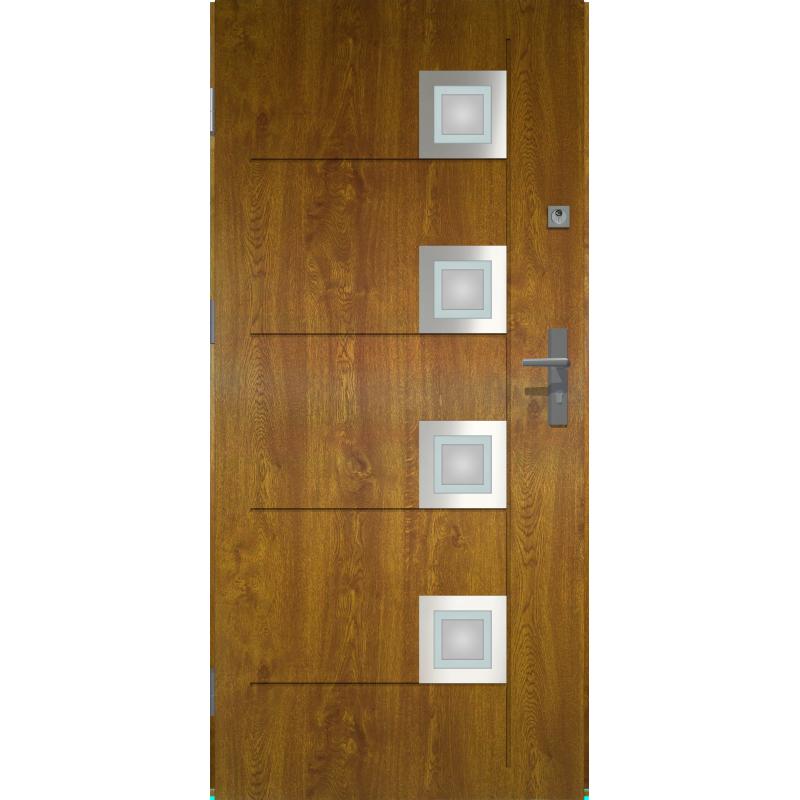 Dodatkowe Drzwi zewnętrzne przeszklone KARAT - Złoty Dąb INOX. Produkt PZ97