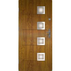 Drzwi zewnętrzne przeszklone KARAT - Złoty Dąb INOX. Produkt POLSKI.