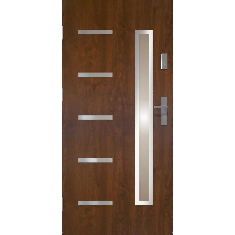 Drzwi zewnętrzne przeszklone JUVENTUS- Ciemny Orzech. INOX. Produkt POLSKI.