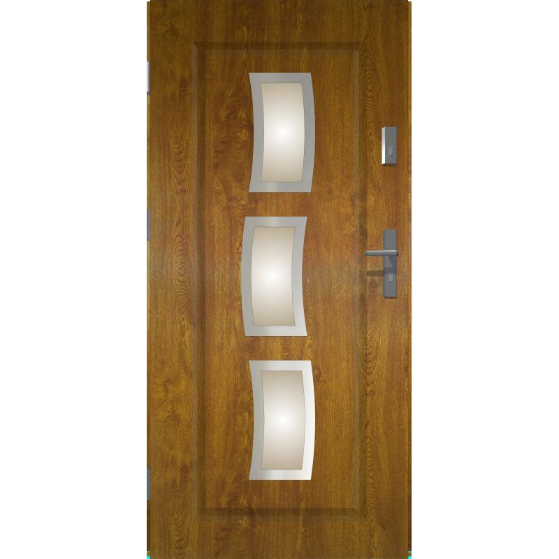 Drzwi zewnętrzne przeszklone STARS - Złoty Dąb INOX. Produkt POLSKI.